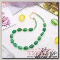 Бусы Гармония овалы, цвет зелёный, 45 см - бижутерия