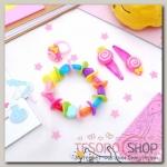 Набор детский Выбражулька 4 предмета: 2 заколки, браслет, кольцо Горошек, форма МИКС, цвет МИКС - бижутерия
