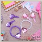 """Набор детский """"Выбражулька"""" 3 предмета: браслет, 2 заколки, сердца, цвет МИКС - бижутерия"""