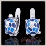 Серьги Черепашки, цвет голубой в чернёном серебре - бижутерия