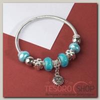 Браслет ассорти Марджери, подвеска МИКС, цвет голубой в серебре - бижутерия