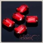 Стразы в цапах (набор 5шт), 10x14мм, цвет красный в серебре