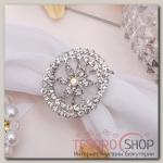 """Кольцо для платка """"Цветок"""" кувшинка, цвет радужный в серебре"""