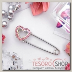 Булавка Сердце, 3,5см, цвет бело-розовый в серебре - бижутерия