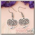 Серьги металл Любовь дерево в сердце, цвет чернёное серебро - бижутерия