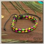 Браслет кожа Плетение радуга, цветной - бижутерия