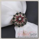 Кольцо для платка Цветок со стразами, цвет красно-зеленый в черненом золоте