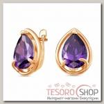 Серьги Капля, позолота, цвет фиолетовый - бижутерия