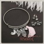 Набор 3 предмета: 2 пары пусет, браслет Лесной мир, цвет серебро - бижутерия