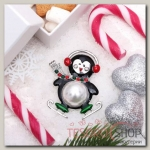 Брошь Новогодняя сказка пингвин танцующий, цветная в серебре