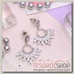 Серьги с кристаллами Элеганс искры, цвет белый в серебре - бижутерия