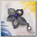 """Брошь """"Цветок"""" орхидея с жемчугом, цвет серо-синий в черненом серебре"""