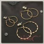 Серьги-кольца 6 пар Настроение утончённость, цвет бело-золотой - бижутерия