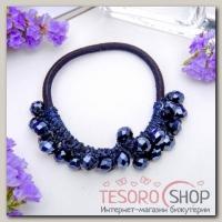 Резинка для волос Кристальный декор синий - бижутерия