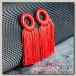 Серьги Кисти танго, цвет красный L кисти 6 см - бижутерия