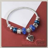 Браслет ассорти Марджери, подвеска МИКС, цвет сине-морской в серебре - бижутерия