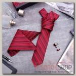 """Набор мужской """"Элит"""" галстук 145x5см, платок, запонки, полоски, цвет красно-черный - бижутерия"""