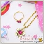 Набор детский Выбражулька 2 предмета: кулон, кольцо, цветочки, цвет МИКС в золоте - бижутерия