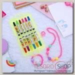 Набор детский Выбражулька 4 предмета: фломастеры, бусы, браслет, кольцо, цветок, цвет МИКС - бижутерия