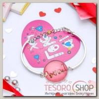 Набор браслет+открытка, Candy любовь, цветной в серебре - бижутерия