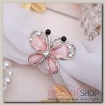 """Кольцо для платка """"Бабочка"""", цвет розовый в серебре"""