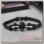 Браслет мужской Денджер череп, цвет чёрный в чёрном металле - бижутерия