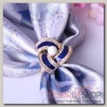 """Кольцо для платка """"Треугольник"""", цвет бело-синий в матовом золоте"""
