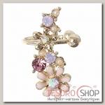 Серьга Каффа цветы полянка, цвет розовый в золоте - бижутерия