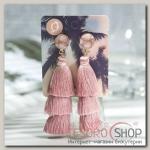 Серьги Кисти ванесса, цвет пудровый, L кисти 5,5 см - бижутерия