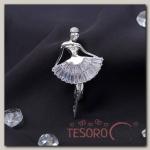 Брошь с цирконом Балерина силуэт, цвет белый в серебре