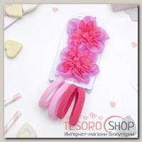 Набор для волос Милашка 2 зажима, 4 резинки малиновый цветок - бижутерия
