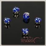 Стразы в цапах (набор 5 шт), 6x6мм, цвет синий в серебре