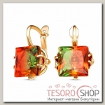 Серьги Узлы, позолота, цвет оранжево-зеленый - бижутерия