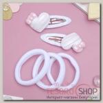 Набор для волос Мусечка (2 невидимки, 3 резинки) сердечки бантики, белый - бижутерия