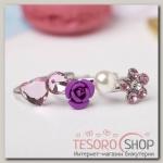Набор детских колец Выбражулька цветение, форма МИКС, цвет розовый - бижутерия