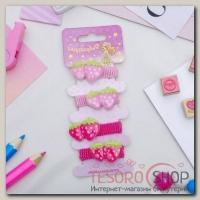 """Резинка для волос """"Кроха"""" набор 4 штуки клубнички малиновый, розовый - бижутерия"""