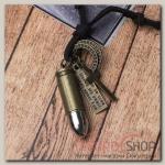 Кулон мужской Резон автомат, цвет чернёное золото с чернёным серебром на корич шн, 80 см - бижутерия