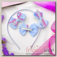 Набор для волос Цветные полоски (ободок, 2 зажима), голубой - бижутерия