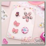 Набор детский 4 предмета: 2 значка, клипсы, кольцо, гёрл, цвет розовый - бижутерия