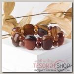 Браслет Агат пластина через два шарика, цвет коричневый - бижутерия