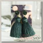 Серьги Кисти аккорд, цвет тёмно-зелёный, L кисти 5,5 см - бижутерия