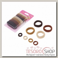 Резинки для волос Махрушка (набор 12 шт.), ассорти, шоколад - бижутерия