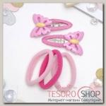 Набор для волос Мусечка (2 невидимки, 3 резинки) бабочки, розовый - бижутерия