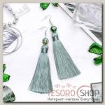 Серьги ассорти Кисти муранское стекло, цвет зелёный, L кисти 8,5 см - бижутерия
