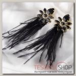 Серьги перья Искра, цвет чёрный в золоте - бижутерия