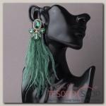Серьги перья Силена, цвет зелёный в золоте - бижутерия