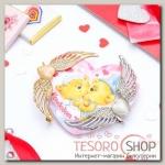Набор серьга Каффа+открытка, сердце с крыльями, цвет МИКС - бижутерия