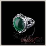Кольцо Лоза, размер 17, цвет зелёно-белый в чернёном серебре