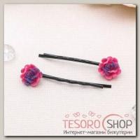 Невидимка для волос Цветочная (набор 20 шт) 4,5 см, роза - бижутерия