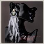 Серьги перья Мираж хрусталики, серо-чёрный - бижутерия